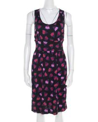 Marc By Marc Jacobs - Black Floral Printed Cotton Silk Cross Back Detail Blanche Dress Xs - Lyst