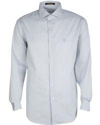 Roberto Cavalli - Monochrome Striped Cotton Long Sleeve Slim Fit Shirt L - Lyst