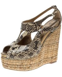 Dior - Python Leather Eden Peep Toe Ankle Strap Straw Wedge Sandals - Lyst