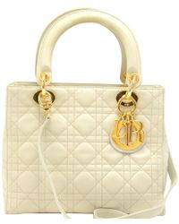 Dior - Off-white Cannage Quilted Leather Medium Lady Tote - Lyst