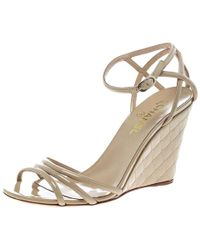 Chanel - Patent Leather Ankle Strap Quilted Wedge Open Toe Sandals - Lyst