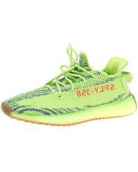 Yeezy - X Adidas Semi Frozen Yellow Cotton Knit Boost 350 V2 Zebra Sneakers - Lyst