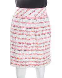 Boutique Moschino - Striped Textured Skirt S - Lyst