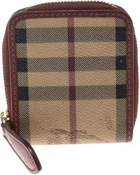 Burberry - /beige Haymarket Check Coated Canvas Coin Purse - Lyst