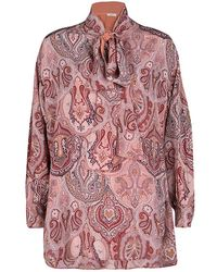 Céline - Printed Mulberry Silk Neck Tie Detail Long Sleeve High Low Tunic M - Lyst