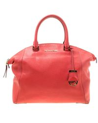 5681ed2bb586 MICHAEL Michael Kors - Red Leather Riley Top Handle Bag - Lyst