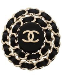 Chanel - Cc Leather Interlaced Gold Tone Pin Brooch - Lyst
