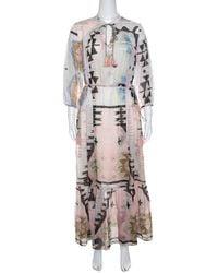 511574d9ec Weekend by Maxmara - Geometric Print Tasselled Tie Detail Dress M - Lyst