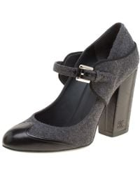 Chanel - Grey/black Wool Blend And Leather Cap Toe Mary Jane Block Heel Pumps Size 40 - Lyst