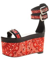 2c99d1edbe0ac0 Giuseppe Zanotti - Floral Printed Satin And Leather Ankle Strap Platform  Sandals - Lyst