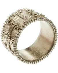 Etro - Textured Gold Tone Wide Band Ring Size 61 - Lyst