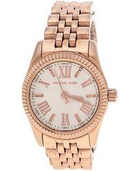 Michael Kors - Silver White Plated Steel Petite Lexington Rose Mk3230 Women's Wristwatch 26 Mm - Lyst