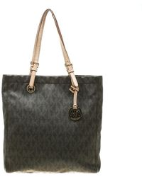 387e36db9929 Michael Kors - Michael Brown Signature Coated Canvas North South Tote - Lyst