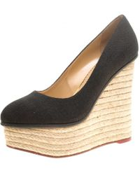 Charlotte Olympia - Black Canvas Carmen Espadrille Platform Wedge Court Shoes Size 39.5 - Lyst