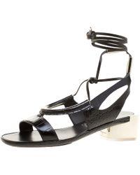 Ferragamo - Croc Effect Leather Glorja Cutout Sandals - Lyst