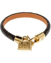 Louis Vuitton Alma Brown Canvas Gold Tone Charm Bracelet 17