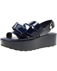 Tod's - Patent Leather Slingback Platform Sandals - Lyst