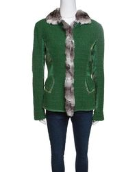 Roberto Cavalli - Textured Wool Fur Trim Jacket M - Lyst