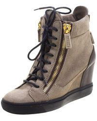 Giuseppe Zanotti - Suede And Leather Hidden Wedge Sneakers - Lyst