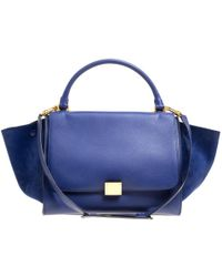 Céline - Leather And Suede Medium Trapeze Tote - Lyst