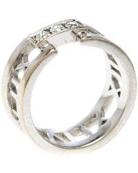 Tiffany & Co. - Atlas Diamonds 18k White Gold Open Band Ring Size 54 - Lyst