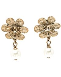 Chanel - Cc Faux Pearl Tone Camellia Drop Earrings - Lyst