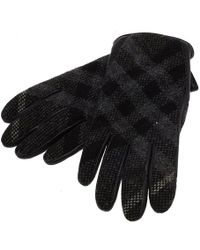Burberry - Check Print Leather And Wool Gloves - Lyst