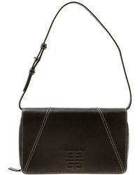 Givenchy Dark Grey Leather Logo Clutch Bag - Gray