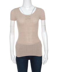 Chanel - Beige Perforated Rib Knit Logo Applique Detail Fitted Top S - Lyst