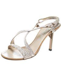 Chanel - Fabric Cc Logo Slingback Sandals - Lyst