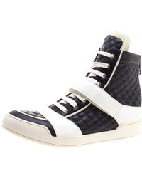 Balmain Monochrome Quilted Leather High Top Trainers Size 45 - Blue