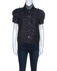 Louis Vuitton - Indigo Monogram Eyelet Embroidered Denim Short Sleeve Shirt M - Lyst