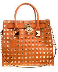 35a5639bb7048e MICHAEL Michael Kors - Leather Large Studded Hamilton Top Handle Shoulder  Bag - Lyst