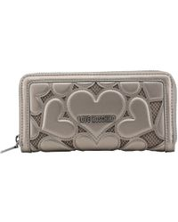 Moschino - Love Grey Leather/mesh Cut Out Heart Zip Around Wallet - Lyst
