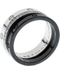 Cartier - Love Diamond Ceramic 18k White Gold 3 Band Ring Set - Lyst