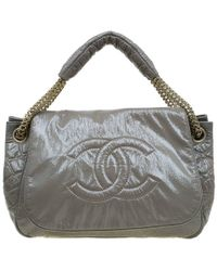 Chanel - Olive Patent Leather Rock And Chain Accordion Flap Bag - Lyst