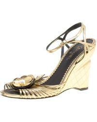 Chanel - Leather Camelia Wedge Sandals - Lyst