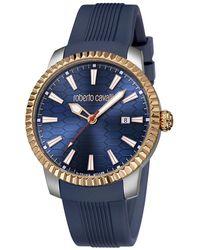 Roberto Cavalli - Navy Rose Gold Plated Stainless Steel Rv1g026p0041 Men's Wristwatch 42mm - Lyst