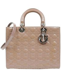 caa68e7b8007 Dior - Beige Cannage Quilted Patent Leather Large Lady Tote - Lyst