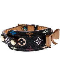 Louis Vuitton - Black Multicolor Monogram Canvas And Leather Id Bracelet - Lyst