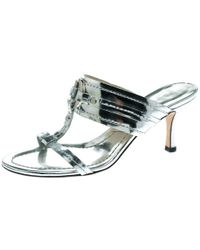 Dior - Metallic Silver Leather T Strap Slide Sandals Size 36 - Lyst