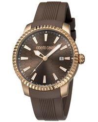 Roberto Cavalli - Chocolate Rose Gold Plated Steel Rv1g026p0011 Men's Wristwatch 42mm - Lyst