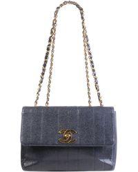 fc9b5230a77183 Chanel - Navy Blue Caviar Leather Vintage Flap Bag - Lyst