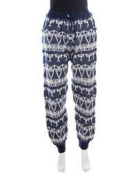 Chanel - Navy Blue And Cream Fair Isle Cashmere Knit Mid Rise Jogger Pants L - Lyst