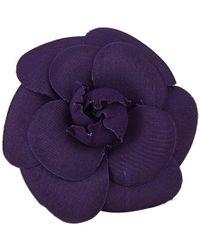Chanel - Canvas Camellia Brooch - Lyst