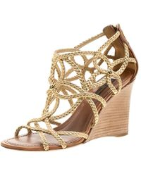 Louis Vuitton - Gold Braided Leather Wedge Sandals - Lyst