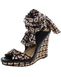 Etro - Satin And Leather Platform Wedge Tie Up Sandals - Lyst