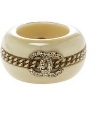 Chanel - Cc Crystal Chain Embellished Resin Wide Band Ring - Lyst