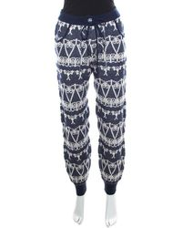 Chanel - Navy Blue And White Cashmere Chunky Jacquard Knit Jogger Pants S - Lyst