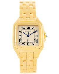 Cartier - Cream 18k Yellow Gold Xl Panthere Women's Wristwatch 29mm - Lyst